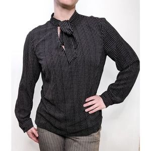 Adrianna Papell Long Sleeve Tie Neck Blouse Black